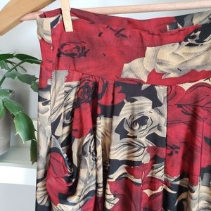 Pants - Red/tan Rose Floral Print Harem Pants with Pockets